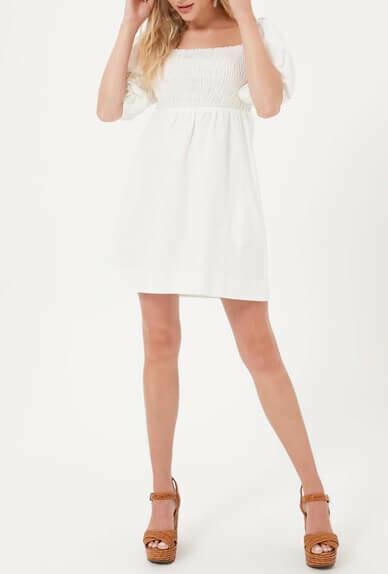 White Puff Sleeve Dress With Smocking