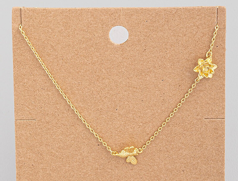18K Gold Dipped Bee and Flower Necklace