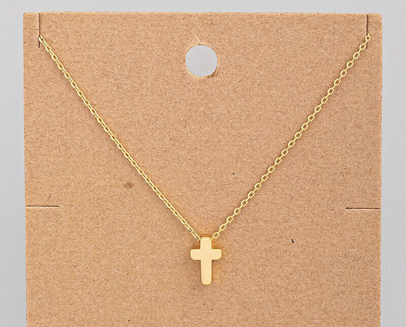 18K Gold Dipped Chunky Cross Necklace