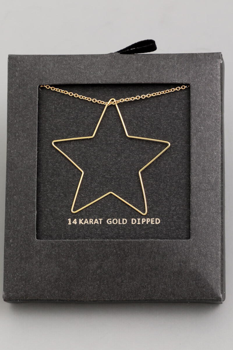 14K Gold Dip Star Necklace