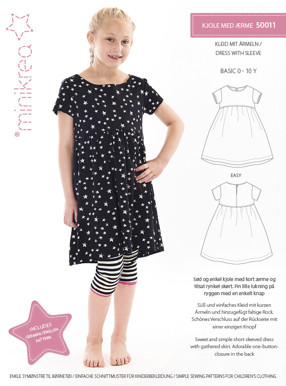 Sewing pattern for Dress with sleeve