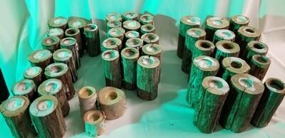 Wood pillar/tea light candle stick holders
