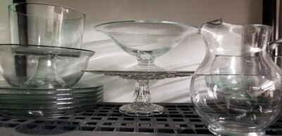 Assorted clear glass serving dishes