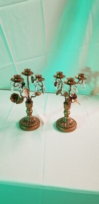 Gold & crystal candelabra