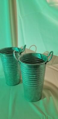 Tall silver metal flower bucket