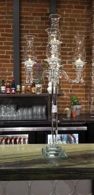 3 ft tall clear crystal 5 arm candelabra