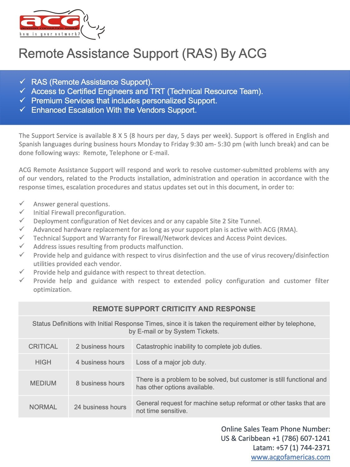 Remote ADVANCED Assistance Support (RAAS) (Price per Hour)