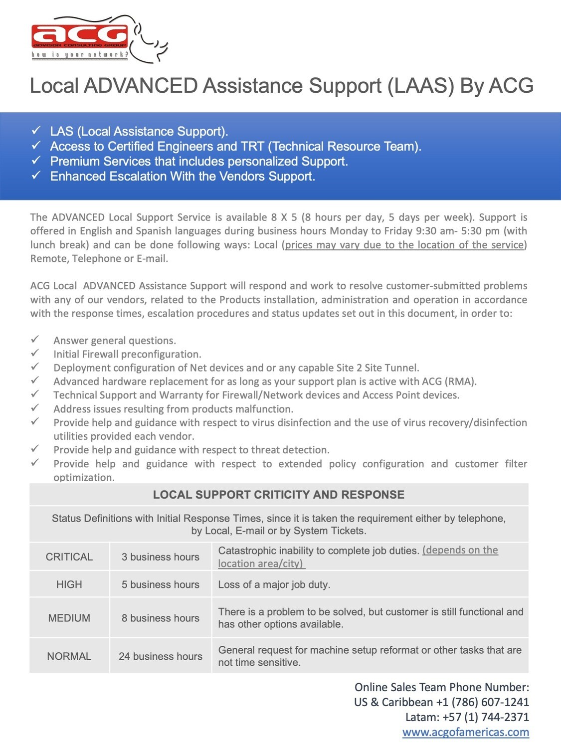 Local ADVANCED Assistance Support (LAAS) (Price per Hour)