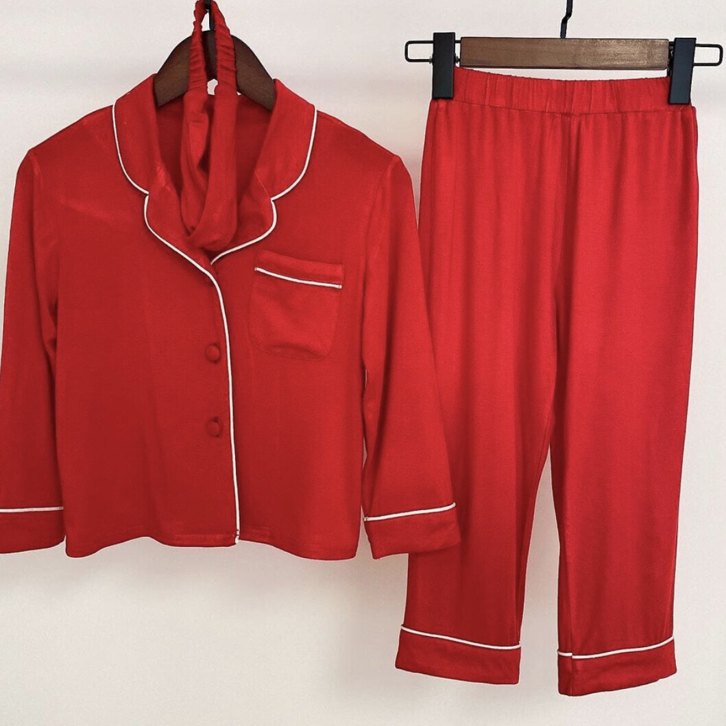 Luxury Red MINI Three Piece Pyjamas