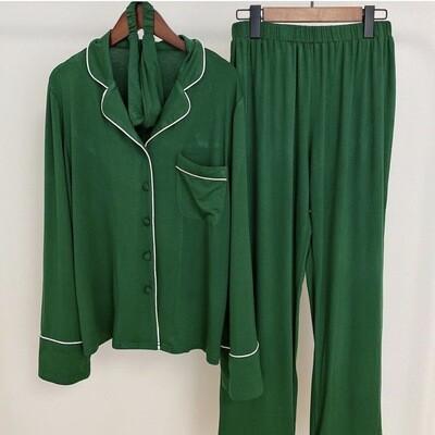 Luxury Green Three Piece Pyjamas