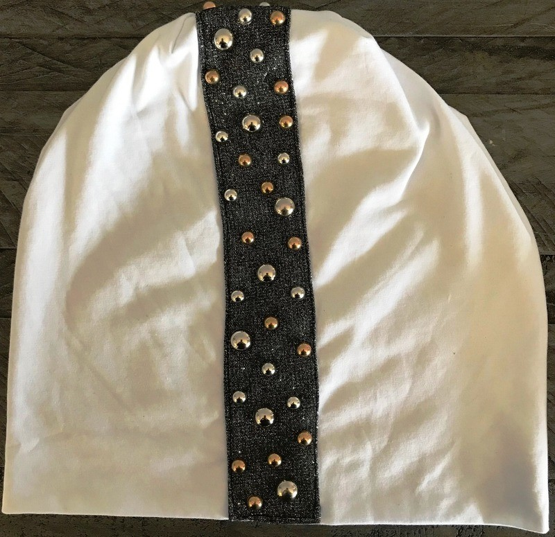 White extra fancy center stripe beanie