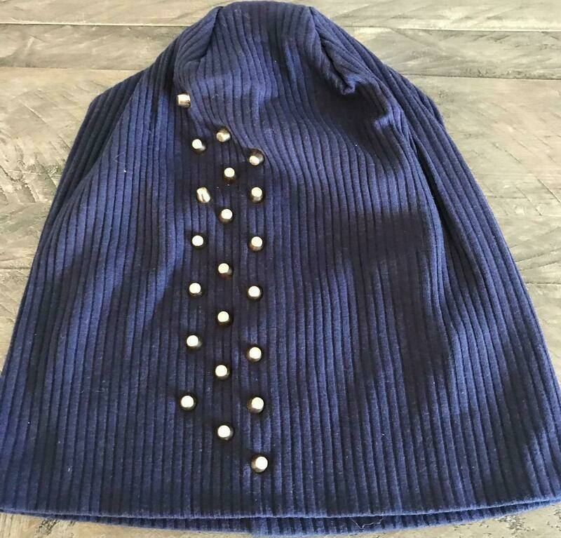 Ribbed cotton beanie w'gold metal studs - Navy