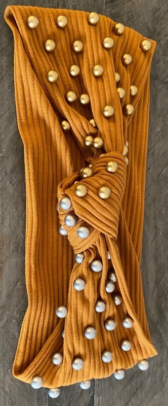 Knot caramel headband with pewter and bronze pearls