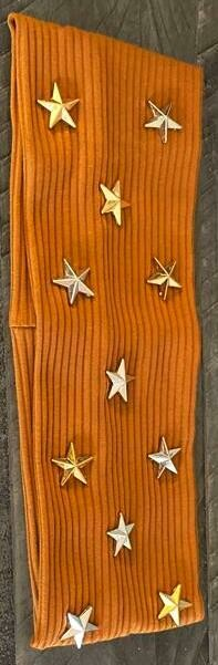 Flat caramel headband with silver and gold stars