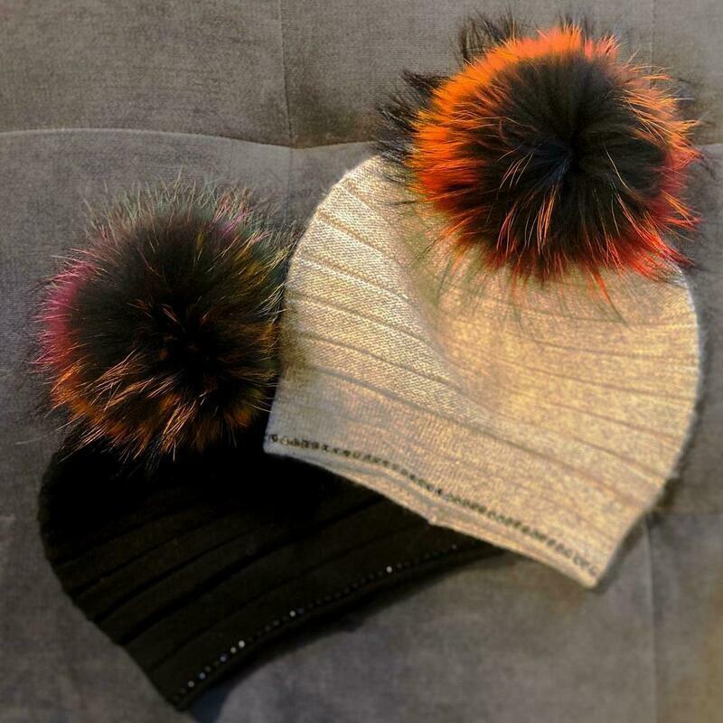 Winter hats w/fur pom pom and sparkle bottom