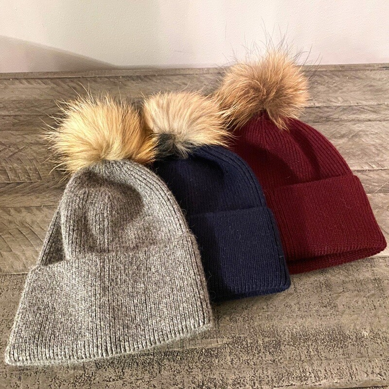 Wool blend fold over hats w/fur