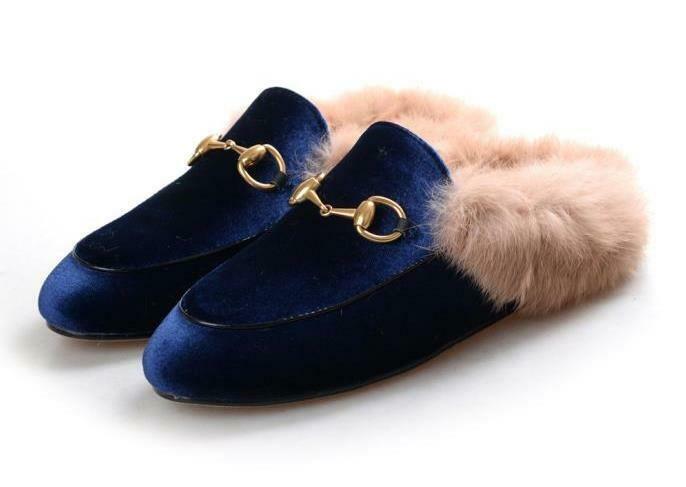 Blue Velvet slide mules with natural fur lining