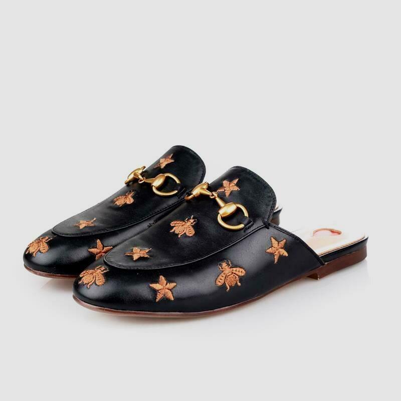 Black leather slide mules w/bugs n stars