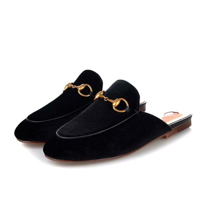 Black Velvet slide mules