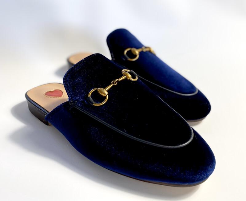 Navy blue Velvet slide mules