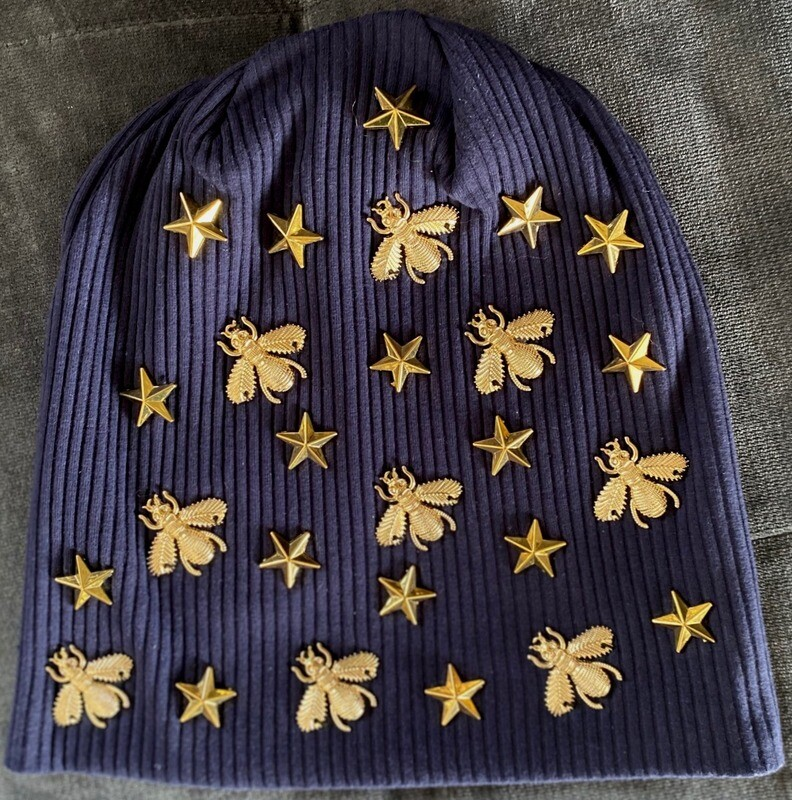 Navy ribbed super fancy beanie