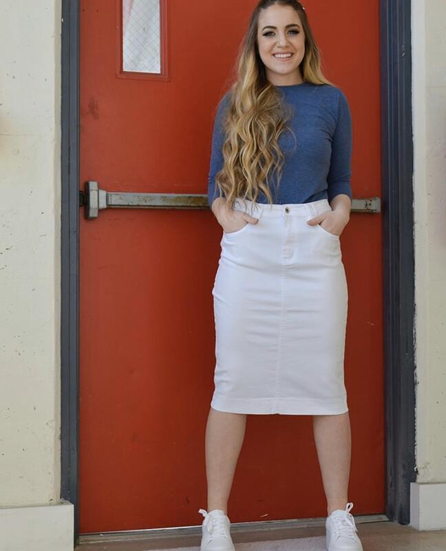 Denim skirts w/sequined back pockets