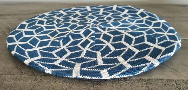 Denim/white mosaic pattern beret/snood