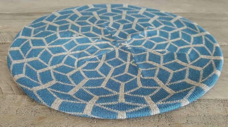 Denim/gray mosaic pattern beret/snood