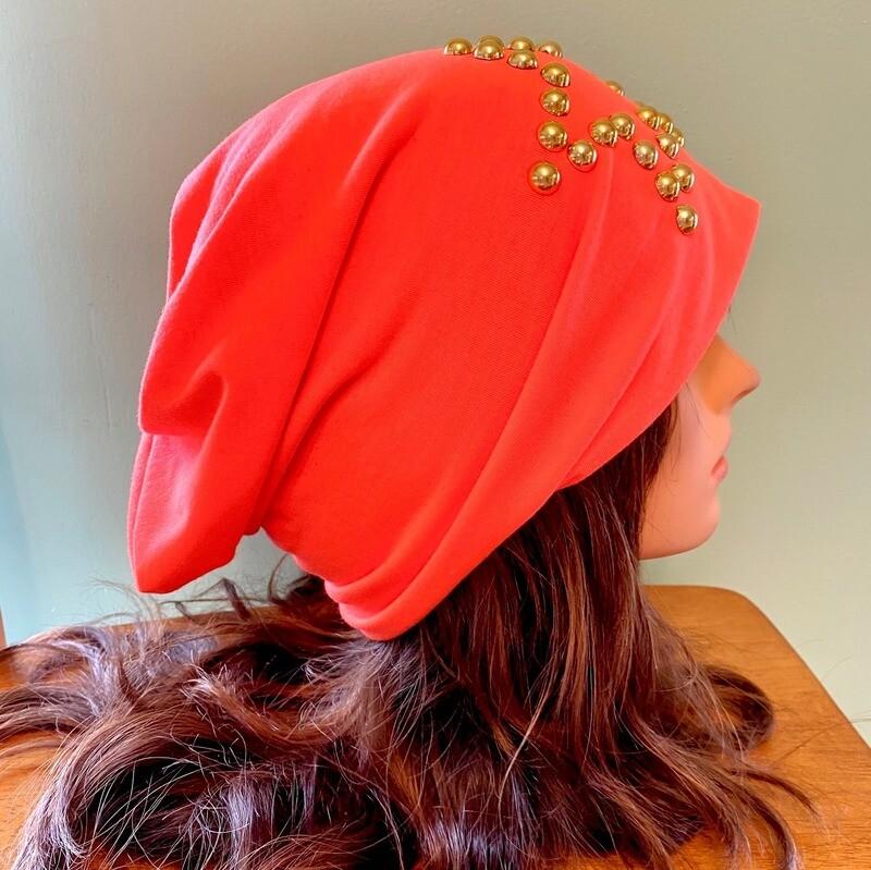 Neon orange beanie w/gold beaded star