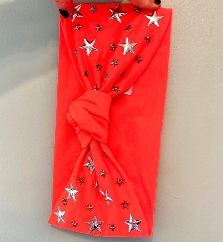 Neon orange knot headband w/small stars