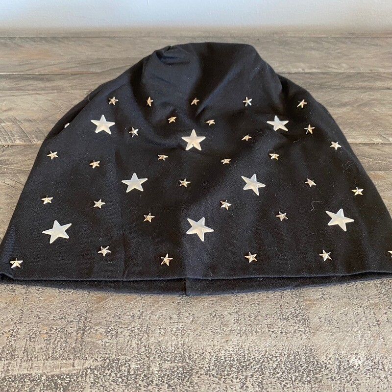 Black cotton  beanie w/small stars