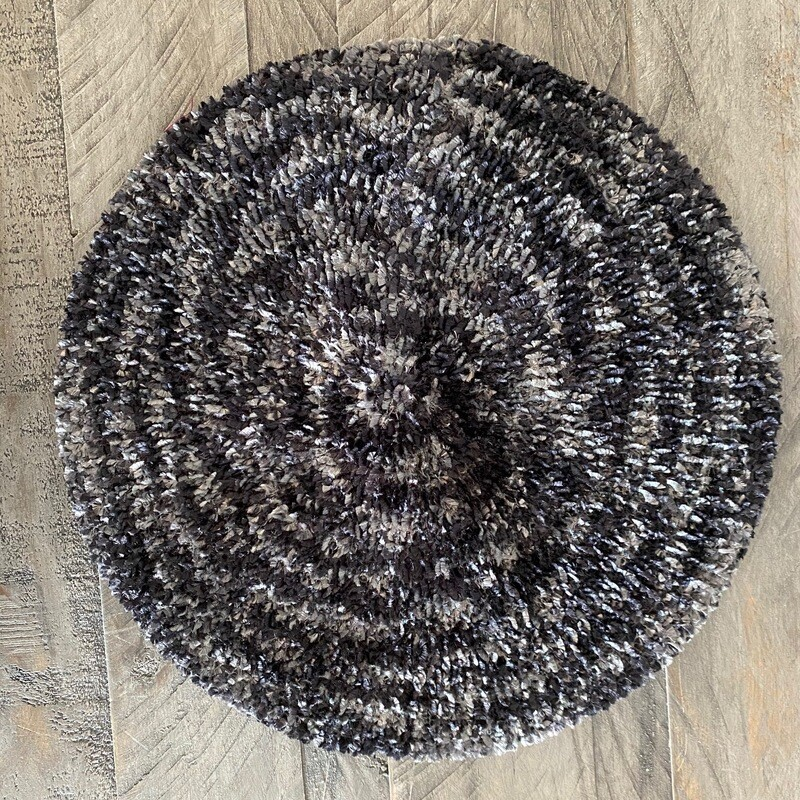 Two tone black/dark gray unlined chenille snood