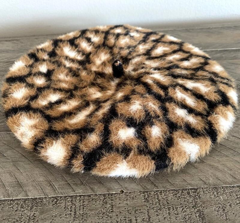 Animal print beret
