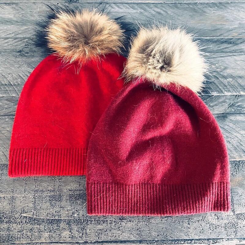 Wool blend short winter hats w/fur
