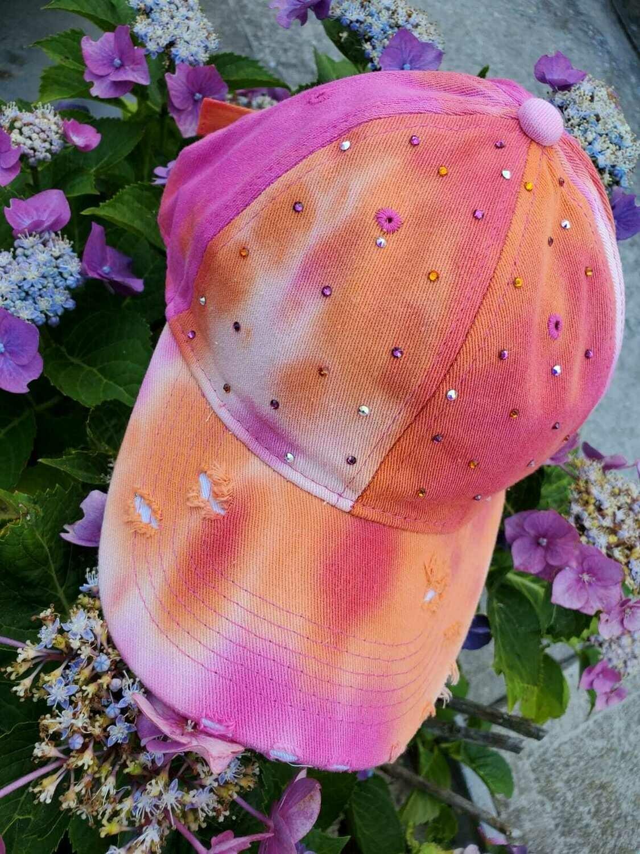 Hand decorated Swarovski tie dyed caps