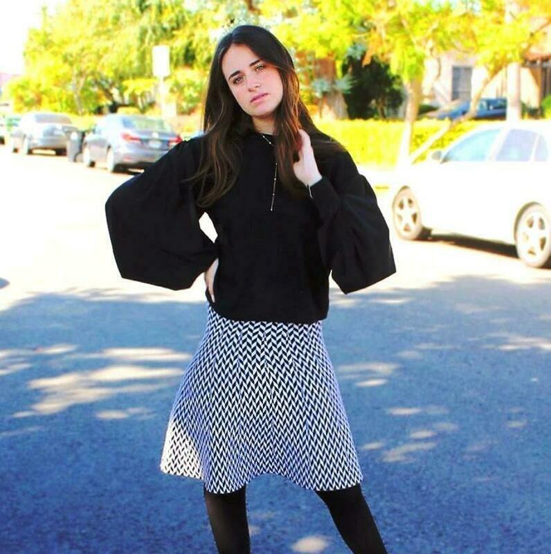 Black/white Herringbone skater skirt
