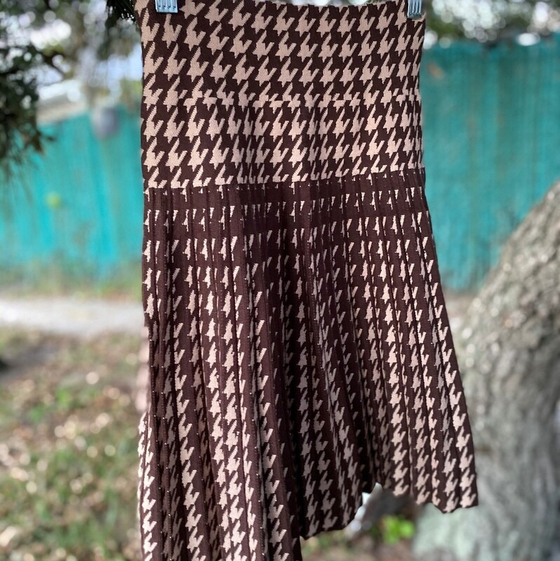 MM pleated skirt - Houndstooth brown
