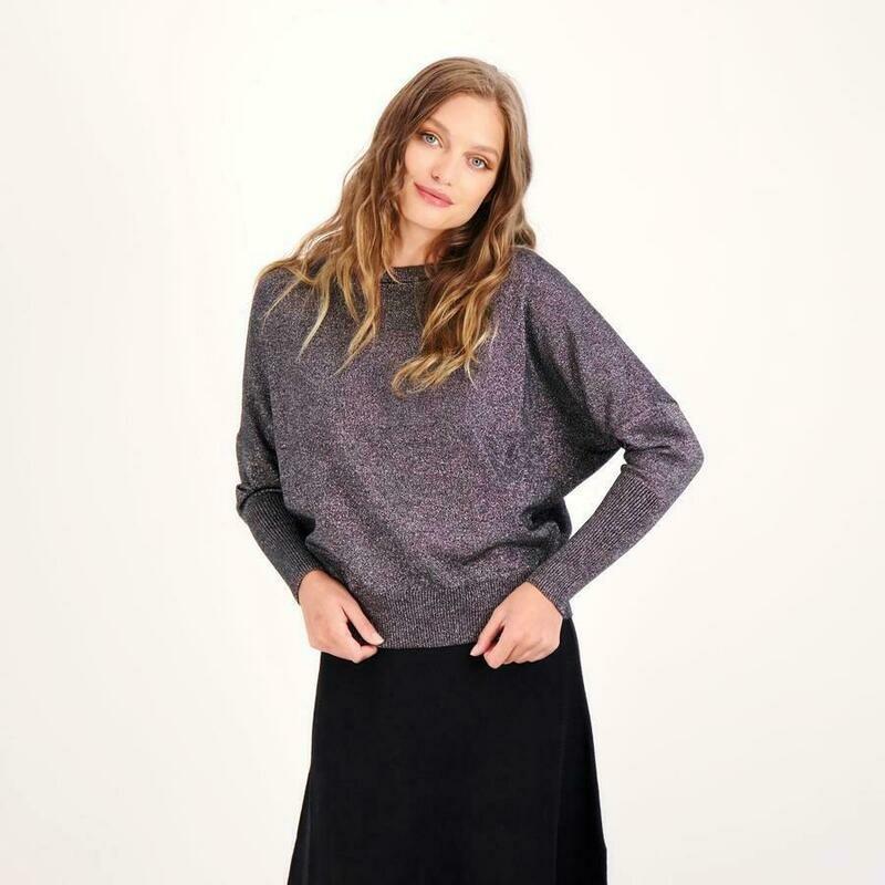 Black shimmer knit Dolman Top