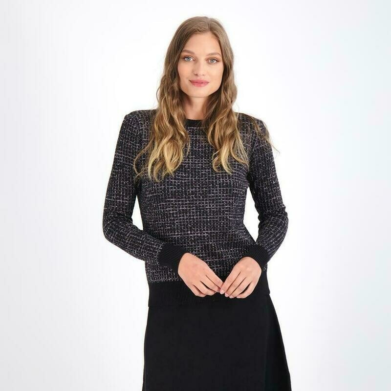 Black silver shimmer grid sweater