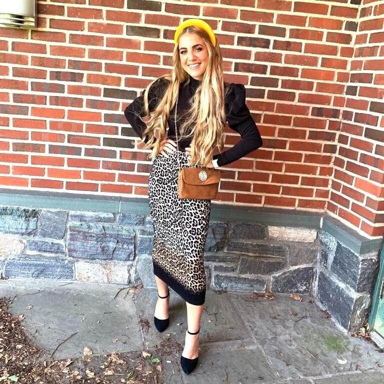 Leopard pattern midi skirt