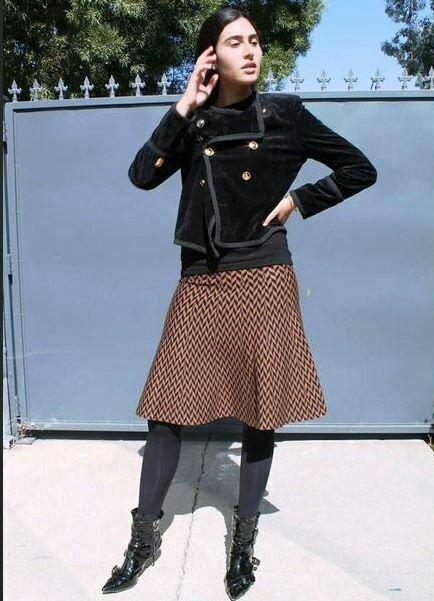 Brown Herringbone skater skirt
