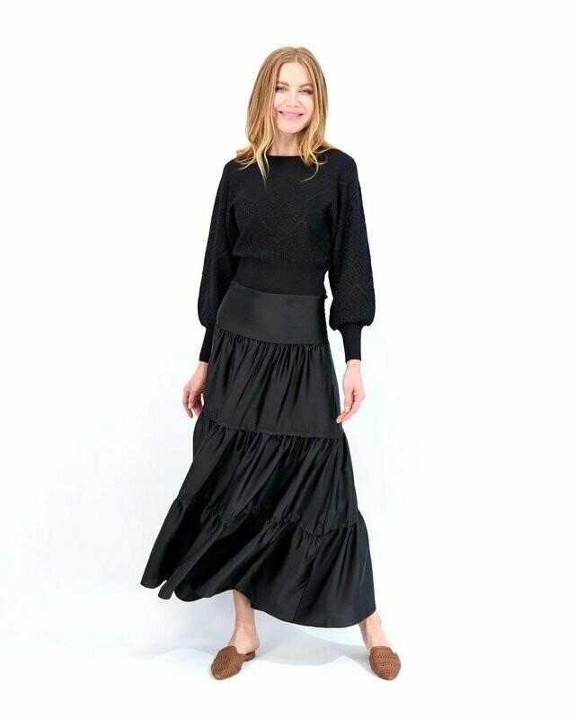 Satin black long tiered skirt