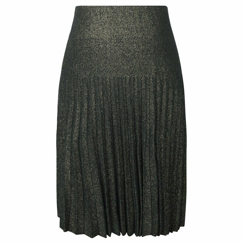 MM pleated skirt - black/gold lurex