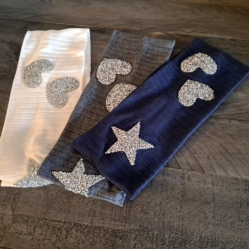 Heart n' star wide ribbed (vertical ribbed) headbands