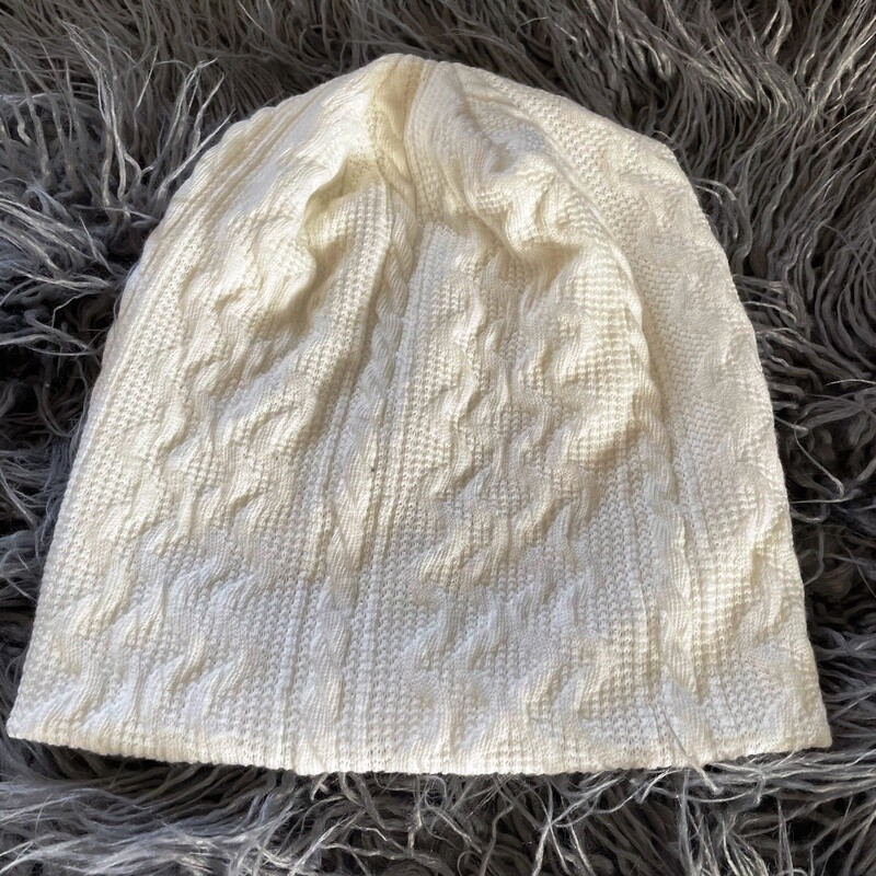 Winter white cable knit beanie