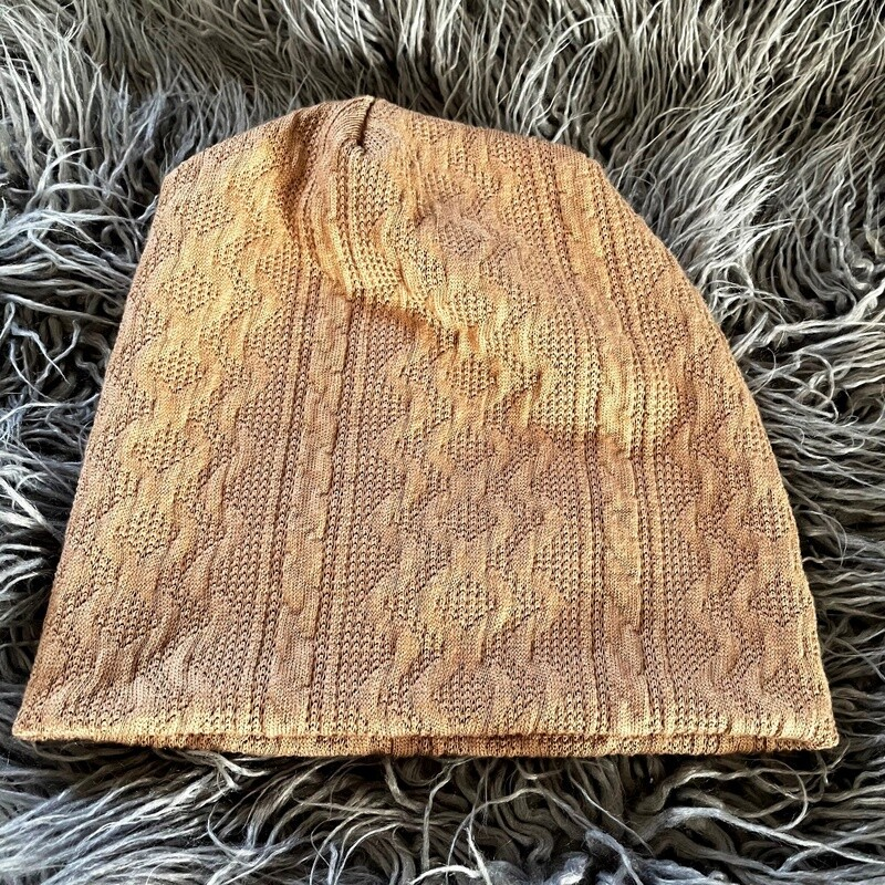 Tan cable knit beanie