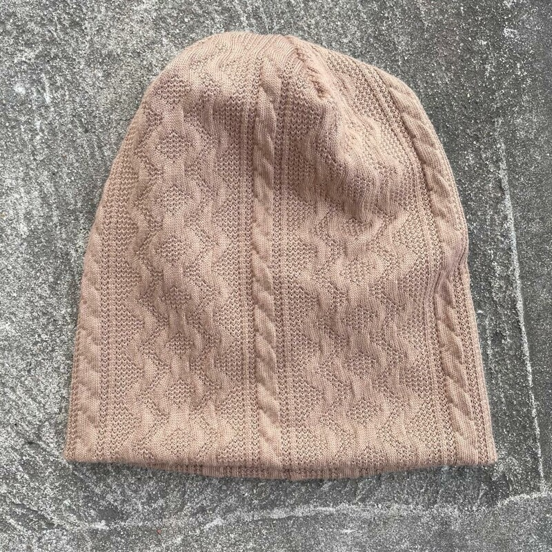 Light brown cable knit beanie