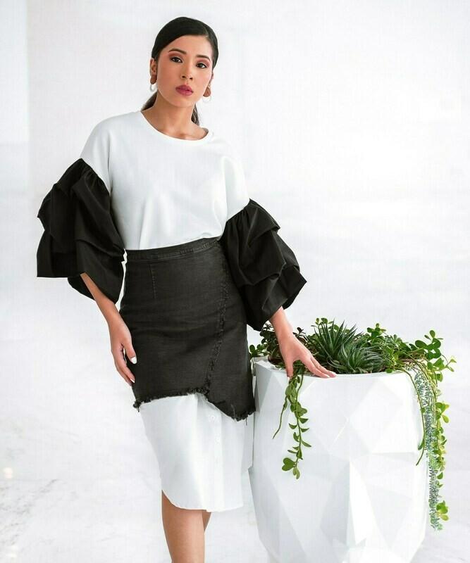 Black denim/white asymmetrical skirt