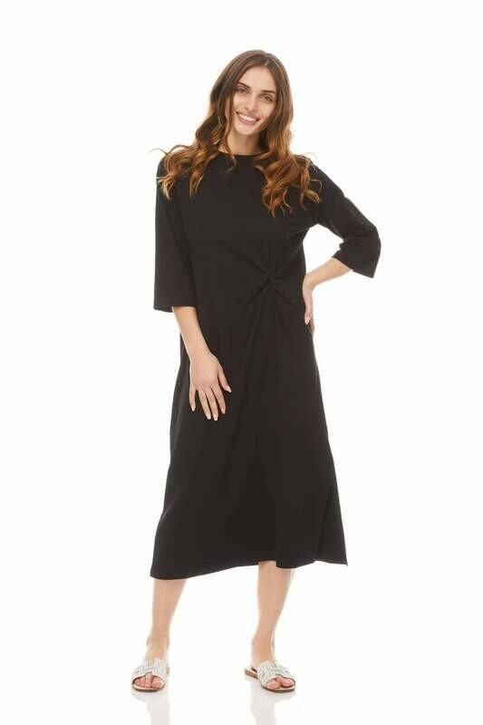 Black twist dress - cotton