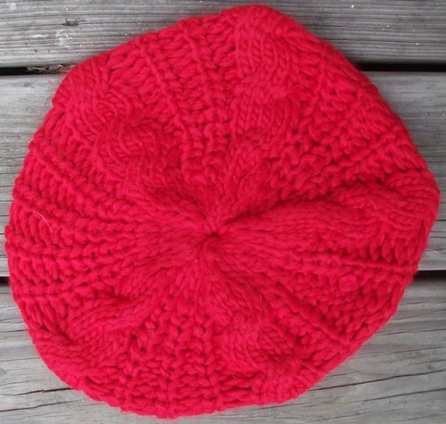 Red chunky beanie beret